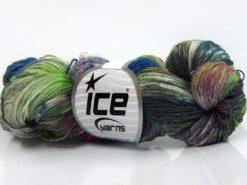 Lot of 4 x 100gr Skeins Ice Yarns HAND DYED SOCK YARN (75% SuperWash Wool) Yarn Green Shades Burgundy Blue