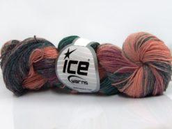 Lot of 4 x 100gr Skeins Ice Yarns HAND DYED SOCK YARN (75% SuperWash Wool) Yarn Salmon Shades Dark Green