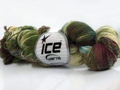 Lot of 4 x 100gr Skeins Ice Yarns HAND DYED SOCK YARN (75% SuperWash Wool) Yarn Green Shades Turquoise Brown Shades Cream