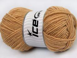 Lot of 4 x 100gr Skeins Ice Yarns MERINO GOLD LIGHT (60% Merino Wool) Yarn Dark Cream