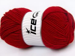 Lot of 4 x 100gr Skeins Ice Yarns MERINO GOLD LIGHT (60% Merino Wool) Yarn Dark Red