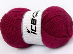 Lot of 4 x 100gr Skeins Ice Yarns MERINO GOLD LIGHT (60% Merino Wool) Yarn Dark Fuchsia