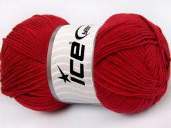 Lot of 4 x 100gr Skeins Ice Yarns LORENA (50% Cotton) Yarn Dark Red