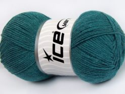 Lot of 4 x 100gr Skeins Ice Yarns LORENA (50% Cotton) Yarn Dark Turquoise