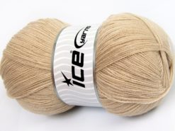 Lot of 4 x 100gr Skeins Ice Yarns KRISTAL Hand Knitting Yarn Dark Beige