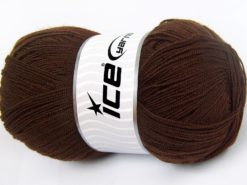 Lot of 4 x 100gr Skeins Ice Yarns KRISTAL Hand Knitting Yarn Dark Brown