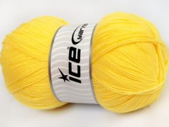 Lot of 4 x 100gr Skeins Ice Yarns KRISTAL Hand Knitting Yarn Lemon Yellow