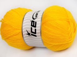 Lot of 4 x 100gr Skeins Ice Yarns KRISTAL Hand Knitting Yarn Yellow