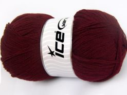 Lot of 4 x 100gr Skeins Ice Yarns KRISTAL Hand Knitting Yarn Dark Maroon