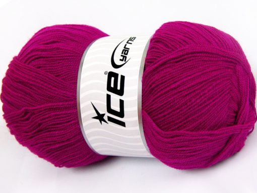 Lot of 4 x 100gr Skeins Ice Yarns KRISTAL Hand Knitting Yarn Dark Fuchsia