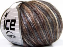 Lot of 8 Skeins Ice Yarns ROCKABILLY COLOR (67% Tencel) Yarn Brown Shades Light Grey