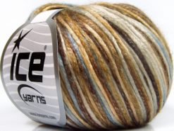 Lot of 8 Skeins Ice Yarns ROCKABILLY COLOR (67% Tencel) Yarn Brown Shades Cream Light Blue