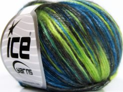 Lot of 8 Skeins Ice Yarns ROCKABILLY COLOR (67% Tencel) Yarn Green Shades Blue Black Brown