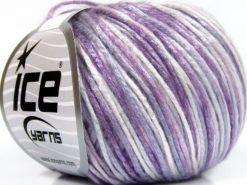 Lot of 8 Skeins Ice Yarns ROCKABILLY COLOR (67% Tencel) Yarn Lilac Shades White
