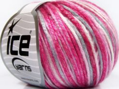 Lot of 8 Skeins Ice Yarns ROCKABILLY COLOR (67% Tencel) Yarn Pink Shades White Light Grey