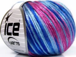 Lot of 8 Skeins Ice Yarns ROCKABILLY COLOR (67% Tencel) Yarn Blue Shades Pink Shades