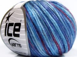 Lot of 8 Skeins Ice Yarns ROCKABILLY COLOR (67% Tencel) Yarn Blue Shades Light Lilac Burgundy