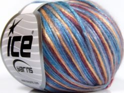 Lot of 8 Skeins Ice Yarns ROCKABILLY COLOR (67% Tencel) Yarn Light Blue Light Lilac Burgundy Gold