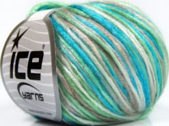 Lot of 8 Skeins Ice Yarns ROCKABILLY COLOR (67% Tencel) Yarn Turquoise Dark Beige Ecru Mint Green