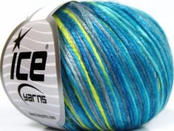 Lot of 8 Skeins Ice Yarns ROCKABILLY COLOR (67% Tencel) Yarn Turquoise Shades Light Grey Neon Green