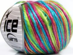 Lot of 8 Skeins Ice Yarns ROCKABILLY COLOR (67% Tencel) Yarn Turquoise Green Fuchsia Gold