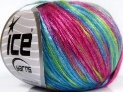 Lot of 8 Skeins Ice Yarns ROCKABILLY COLOR (67% Tencel) Yarn Fuchsia Light Green Light Blue