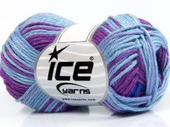 Lot of 8 Skeins Ice Yarns SKY COTTON (100% Cotton) Yarn Blue Shades Light Lilac Fuchsia