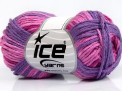 Lot of 8 Skeins Ice Yarns SKY COTTON (100% Cotton) Yarn Pink Shades Purple Shades
