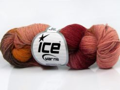 Lot of 4 x 100gr Skeins Ice Yarns HAND DYED SOCK YARN (75% SuperWash Wool) Yarn Burgundy Shades Light Pink Gold Rose Brown