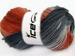 Lot of 4 x 100gr Skeins Ice Yarns MAGIC LIGHT Yarn Grey Shades Copper Shades