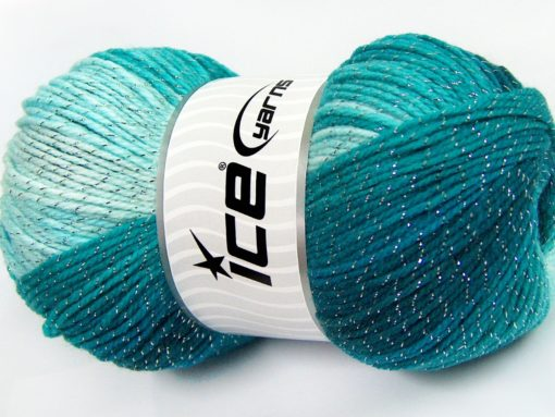 Lot of 4 x 100gr Skeins Ice Yarns MAGIC GLITZ Yarn Turquoise Shades
