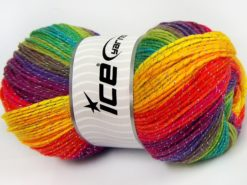 Lot of 4 x 100gr Skeins Ice Yarns MAGIC GLITZ Hand Knitting Yarn Rainbow