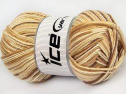 Lot of 4 x 100gr Skeins Ice Yarns LORENA COLOR (50% Cotton) Yarn Brown Cream Camel