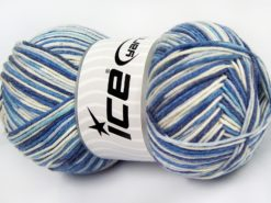 Lot of 4 x 100gr Skeins Ice Yarns LORENA COLOR (50% Cotton) Yarn Blue Shades White