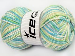 Lot of 4 x 100gr Skeins Ice Yarns LORENA COLOR (50% Cotton) Yarn Turquoise Blue Green Cream
