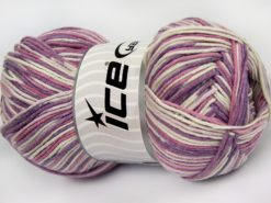 Lot of 4 x 100gr Skeins Ice Yarns LORENA COLOR (50% Cotton) Yarn Lilac Shades White