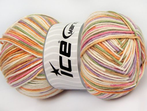 Lot of 4 x 100gr Skeins Ice Yarns LORENA COLOR (50% Cotton) Yarn Green Lilac Pink Brown Cream Gold