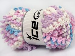 Lot of 4 x 100gr Skeins Ice Yarns BOUCLERON CHAIN Yarn Light Pink Light Lilac White Light Blue