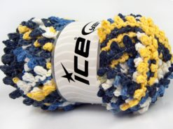 Lot of 4 x 100gr Skeins Ice Yarns BOUCLERON CHAIN Yarn Navy Blue Yellow White