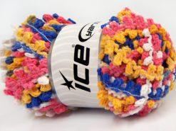 Lot of 4 x 100gr Skeins Ice Yarns BOUCLERON CHAIN Yarn Blue Pink White Yellow