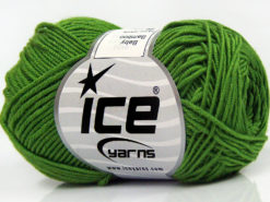 Lot of 8 Skeins Ice Yarns BABY BAMBOO (50% Bamboo) Hand Knitting Yarn Green