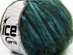 Lot of 8 Skeins Ice Yarns TECHNO CHENILLE WORSTED (60% MicroFiber) Yarn Turquoise Green
