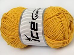 Lot of 4 x 100gr Skeins Ice Yarns NATURAL COTTON WORSTED (100% Cotton) Yarn Dark Yellow