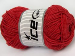 Lot of 4 x 100gr Skeins Ice Yarns NATURAL COTTON WORSTED (100% Cotton) Yarn Red