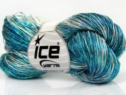Lot of 3 x 100gr Skeins Ice Yarns SPRAY PAINT (40% Cotton) Yarn Turquoise Shades