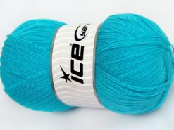 Lot of 4 x 100gr Skeins Ice Yarns KRISTAL Hand Knitting Yarn Light Turquoise