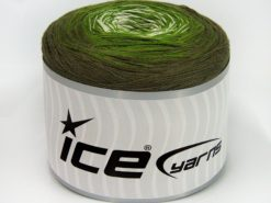 Lot of 2 x 150gr Skeins Ice Yarns CAKES COTTON FINE (50% Cotton) Yarn Khaki Green White