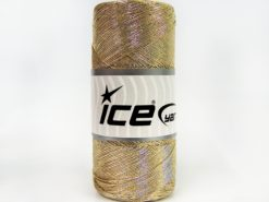 Lot of 2 x 200gr Skeins Ice Yarns METALLIC COTTON (30% Cotton) Yarn Gold