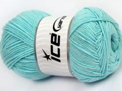 Lot of 4 x 100gr Skeins Ice Yarns LORENA (50% Cotton) Yarn Light Turquoise