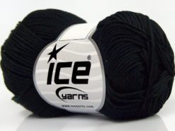 Lot of 6 Skeins Ice Yarns GIZA COTTON Hand Knitting Yarn Black